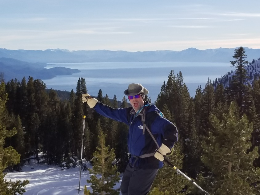 Mark snowshoeing in Mt. Rose. Lake Tahoe in the background.