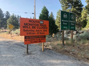 Road closure sign - Hwy 88 and 89 junction