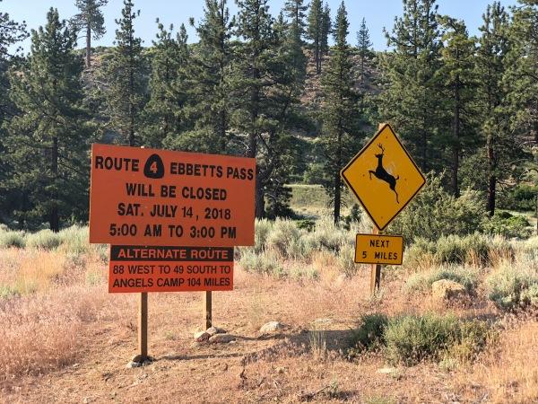 Ebbett's Pass closed sign