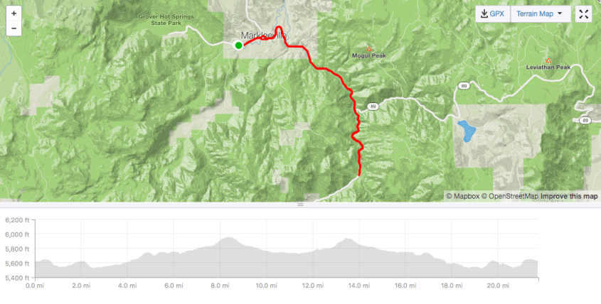 Wolf Creek out and back map and profile
