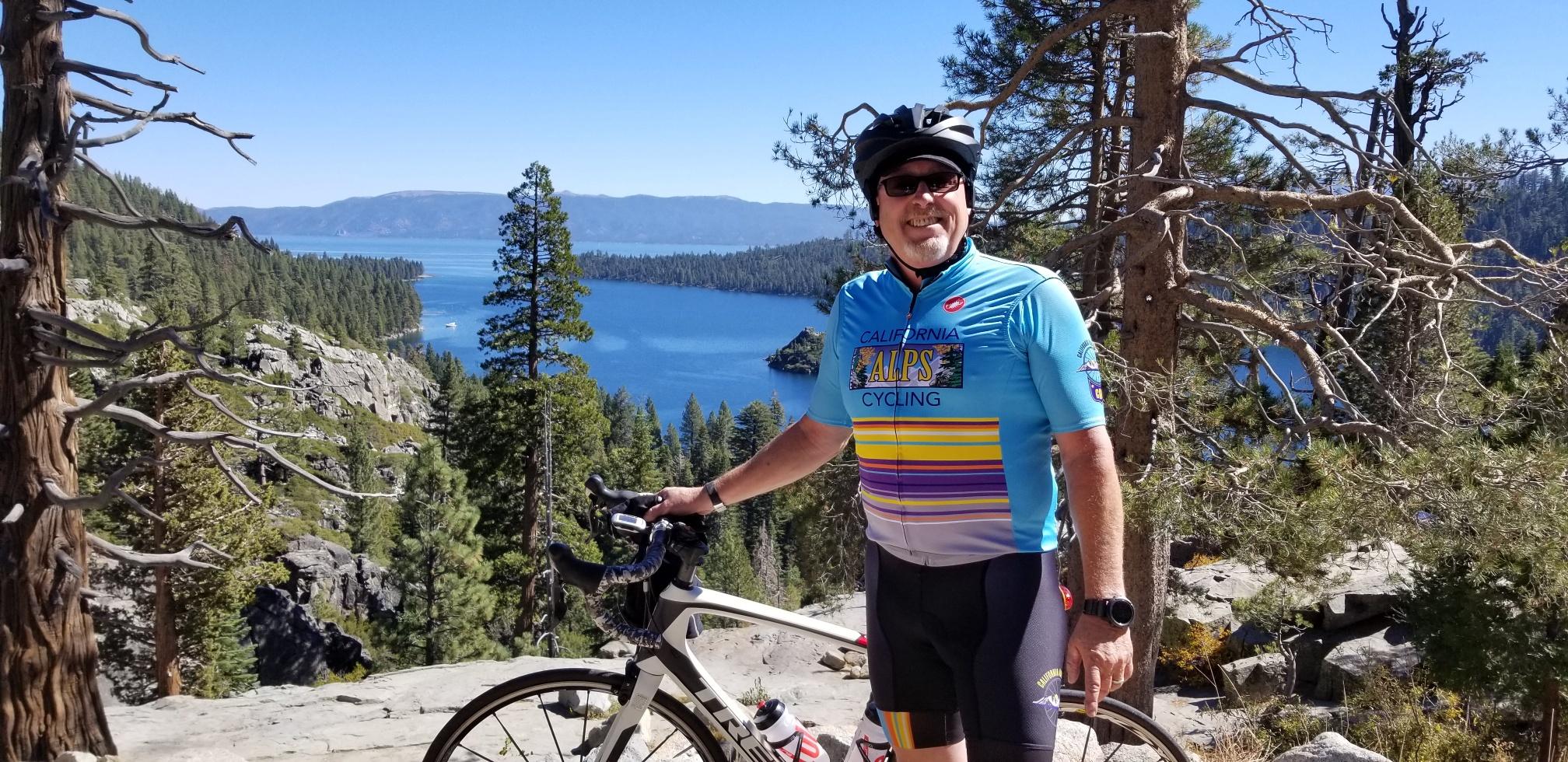 A cycling enjoying the day at Lake Tahoe.