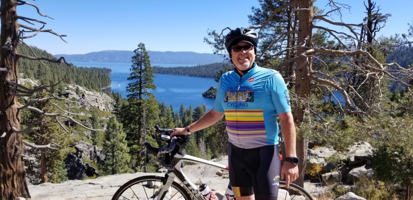 A cycling enjoying the day at Lake Tahoe.