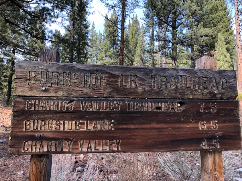 The Burnside Lake Trailhead sign on Hot Springs Road in Markleeville, CA
