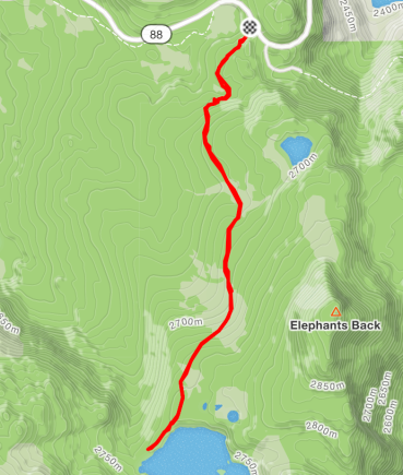 A map of the trail from Highway 88 at Carson Pass and Winnemucca Lake.